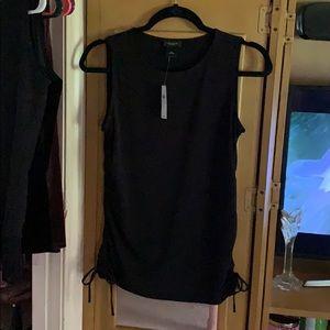 Black sleeveless top w/cinch side tie up waist